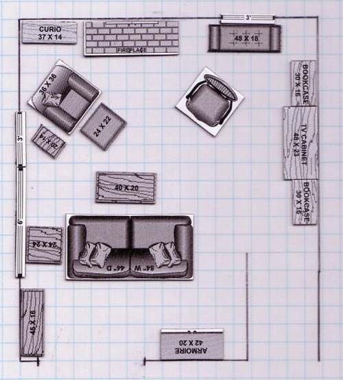 space-planning. I have also found these handy furniture piece examples  on-line
